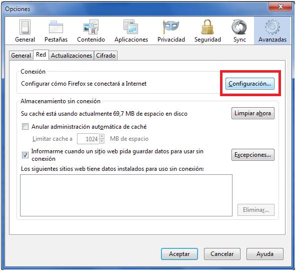 Configurar Proxy en firefox
